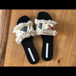 99de852f2 Zara Shoes   Fringe Flat Slides   Poshmark